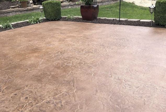 Stamped concrete patio in Frisco TX
